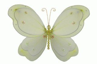 "Hanging nylon butterfly craft nursery bedroom girls room ceiling wall decor, wedding birthday party baby bridal shower decorations   Chloe Butterfly Room Decor   5"" yellow   Unique Decorative Items"
