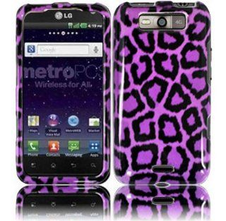 Purple Leopard Hard Case Cover for LG Connect 4G MS840 Cell Phones & Accessories