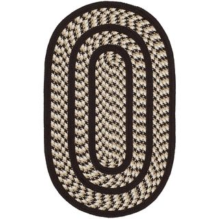 Safavieh Hand woven Braided Ivory/ Dark Brown Rug (26 X 4 Oval)