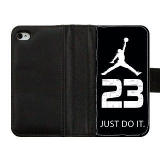 Hot Phone Protetion Wallet Air Jordan Logos Custom Diary Leather Cover Case for IPhone 4,4S Vilen Home 011546 Cell Phones & Accessories