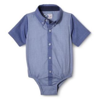 G Cutee Newborn Boys Short Sleeve Button Down Shirtzie   Chambray 24 M