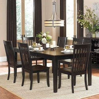 He Zachary 7 piece Two tone Sand through Black/ Brown Extending Dining Set Black Size 7 Piece Sets