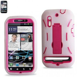 Combo Silicone Hybrid Hard Case with Kickstand for U.S. Cellular/Sprint Motorola Photon 4G/Electrify/MB855   Clear/Hot Pink Cell Phones & Accessories
