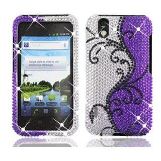 LG Marquee LS855 LS 855 Cell Phone Full Crystals Diamonds Bling Protective Case Cover Silver and Purple with Black Flower Vines Design Cell Phones & Accessories