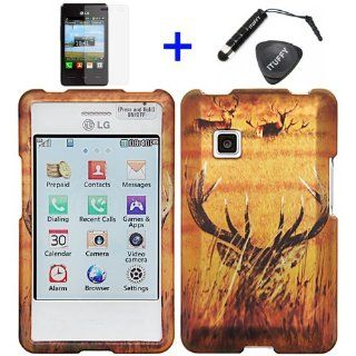 4 items Combo ITUFFY (TM) LCD Screen Protector Film + Mini Stylus Pen + Case Opener + Wild Safari Hidden Buck Grass Camouflage Design Rubberized Snap on Hard Shell Cover Faceplate Skin Phone Case for LG 840G LG840G   StraightTalk / Net 10/ Tracfone Cell