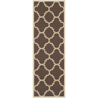Safavieh Indoor/ Outdoor Courtyard Dark Brown Rug (24 X 12)