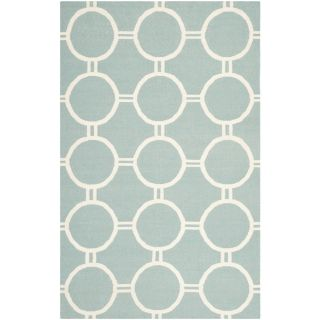 Safavieh Hand woven Moroccan Dhurrie Light Blue/ Ivory Geometric Wool Rug (4 X 6)