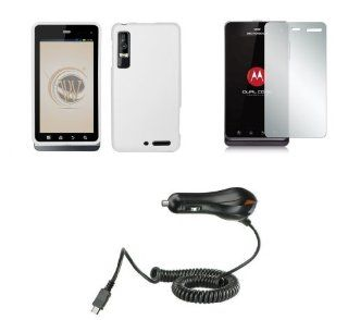 Motorola Droid 3 XT862 (Verizon) Premium Combo Pack   White Rubberized Shield Hard Case Cover + Atom LED Keychain Light + Screen Protector + Car Charger Cell Phones & Accessories