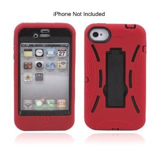 Ebest Red and Black Silicone Heavy Duty Hybrid W/ Foldable Stand for iPhone 4/4S/4G Cell Phones & Accessories