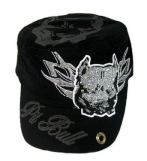 Pit Bull Rhinestone Glitter Cadet Military Style Cap (Black) at  Men�s Clothing store
