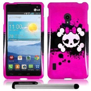 "LG VS870 Lucid 2 (Verizon)   Pretty & Cute Pink Skull Girl Artistic Design Protector Hard Cover Case + Free 1 Garnet House New 4""L Silver Stylus Touch Screen Pen Cell Phones & Accessories"
