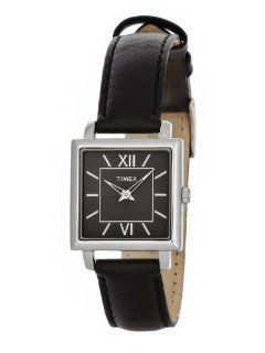 Timex Womens Elegant Square Black Dial Roman Numerals Black Leather Strap Watch T2M875 Watches