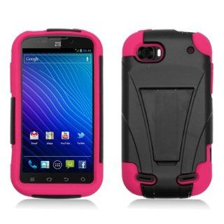 Aimo ZTEN861PCMSK005S Durable Rugged Hybrid Case for ZTE Warp Sequent N861   1 Pack   Retail Packaging   Black/Hot Pink Cell Phones & Accessories