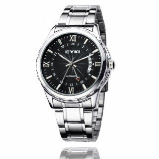 EYKI Men's Stainless Steel Calendar Automatic Mechanical Wrist Watch EFL8552AG Silver Band Black Face Watches