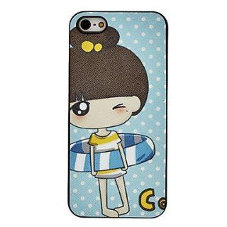 Cartoon Little Girl in Swim Ring Pattern PC Hard Case for iPhone 5/5S  Cell Phone Carrying Cases  Sports & Outdoors