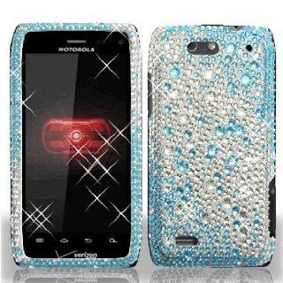 Motorola Droid 4 IV XT894 XT 894 Cell Phone Full Crystals Diamonds Bling Protective Case Cover Silver and Blue 2 tone Gemstones Design Cell Phones & Accessories