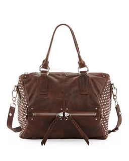 Dora Circle Studded Leather Satchel/Shoulder Bag, Cognac   Oryany