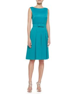 Womens Sleeveless Cocktail Dress with Bow Belt, Teal   Badgley Mischka
