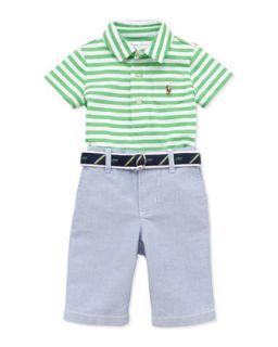 Stripe Jersey Polo & Oxford Pants Set, 3 12 Months   Ralph Lauren Childrenswear