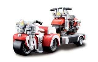 Harley Davidson Red Trike and Red 883 Sportster Kids Cycle Town Road Trip Haulers 3 Piece Se Toys & Games