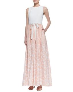 Womens Sleeveless Printed Skirt Gown with Bow Belt, Ivory/Blush   Aidan Mattox