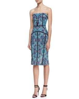Womens Strapless Printed & Piped Seam Dress, Teal/Multicolor   Nicole Miller