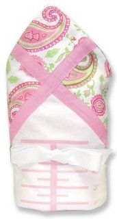 "Growth Chart Receiving Blanket  White Twill W/Paisley Park Twill Frame, Pink Ultra Suede Trim & Pink Velour Back; 36"" X 36""  Nursery Basket Liners  Baby"