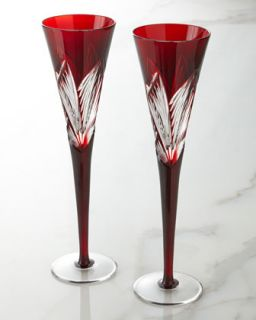 Two Times Square Ruby Flutes   Waterford Crystal