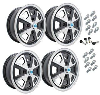 EMPI 914 STYLE ALLOY WHEEL PACKAGE, 4 LUG VW BUG, GHIA, TYPE 3, 4PC SET, #9681 GLOSS BLACK, 15 X 5, 4 ON 130MM Automotive