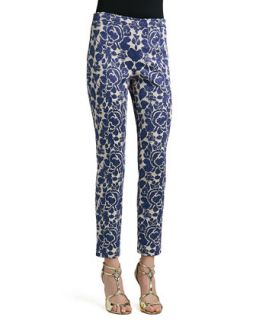 Womens Metallic Rose Floral Jacquard Knit Slim Ankle Pants with Back Slits