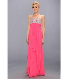 Faviana Strapless Sweetheart Gown w/ Bust Detail 7335 Womens Dress (Pink)