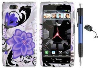 Splash ink Painting Purple Violet Lily Flower On White Premium Design Protector Hard Cover Case for Motorola Droid RAZR MAXX XT916 Android Smartphone (Verizon) + Luxmo Brand Travel (Wall) Charger + Bonus 1 of New Rubber Grip Translucent Ball Point Pen Cel