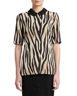 Womens Tigre Print Silk Georgette Elbow Sleeve Blouse with Silk CDC Collar &
