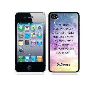 Dr. Seuss Quote   The More That You Read Galaxy Sky   Protective Designer BLACK Case   Fits Apple iPhone 4 / 4S / 4G Cell Phones & Accessories