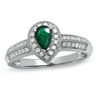 Pear Shaped Emerald and 1/4 CT. T.W. Diamond Vintage Style Ring in 10K