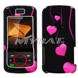 Black with Hot Pink Love Hearts Drops Design Snap On Cover Hard Case Cell Phone Protector for Motorola i856 Debut Cell Phones & Accessories
