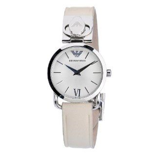 Emporio Armani Women's AR0789 Stainless Steel Case Beige Leather Strap Silver Dial Watch Emporio Armani Watches