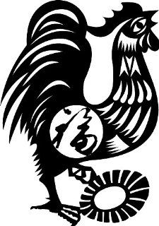Rooster Chinese Zodiac Wall Sticker Decal Silhouette Decoration   12 in. Black   Kitchen Decals Roosters