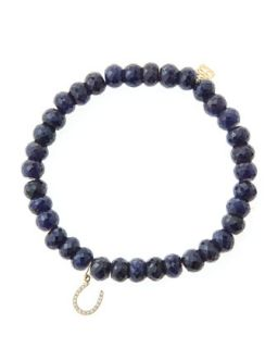 6mm Faceted Sapphire Beaded Bracelet with 14k Yellow Gold/Micropave Diamond