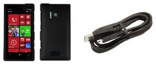 Nokia Lumia 928   Premium Accessory Kit   Black Hard Shell Case + ATOM LED Keychain Light + Micro USB Cable Cell Phones & Accessories
