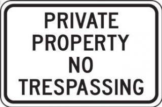 "Accuform Signs FRP903RA Engineer Grade Reflective Aluminum Designated Parking Sign, Legend ""PRIVATE PROPERTY NO TRESPASSING"", 18"" Width x 12"" Length x 0.080"" Thickness, Black on White"