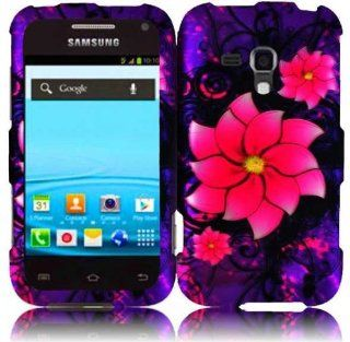 Purple Pink Flower Hard Cover Case for Samsung Galaxy Rush SPH M830 Cell Phones & Accessories