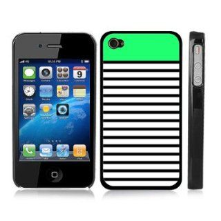 Lime Green Striped Snap On Cover Black Hard Carrying Case for iPhone 4/4S Cell Phones & Accessories