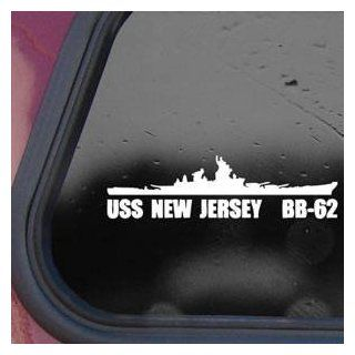 BB 62 USS New Jersey Battleship White Decal Sticker Wall White Decal Sticker   Decorative Wall Appliques