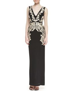 Womens Sleeveless Applique Leaf Column Gown, Black/Gold   Nicole Miller