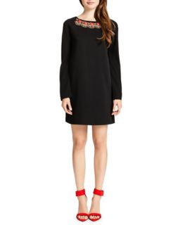 Womens Jersey Long Sleeve Shift Dress with Embellished Neck, Black/Multicolor