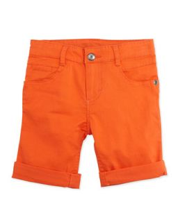 Little Waver Soft Twill Rolled Shorts, Orange, 2T 4T