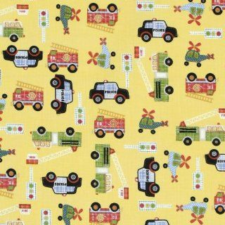 Northcott Rescue 911 Fire Trucks, Police Cars & Helicopters Yellow Fabric Yardage