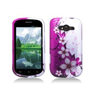 Purple Silver Flower Hard Cover Case for Samsung Galaxy Reverb SPH M950 Cell Phones & Accessories