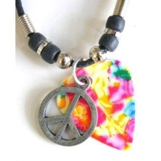 "18"" Tie Dye Guitar Pick & Peace Sign Necklace"